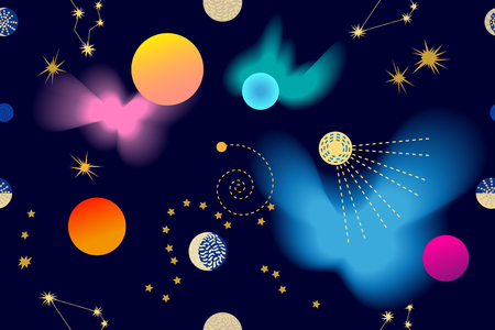 Illustration pour Seamless vector pattern with stars, comets and planets on dark blue background. - image libre de droit