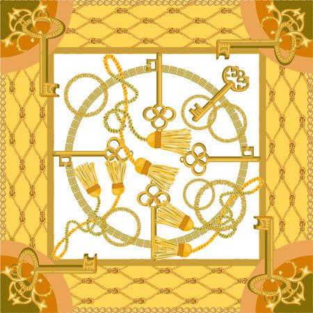 Illustration pour Curtain brushes and golden chains on contrast background. Women's fashon collection. - image libre de droit