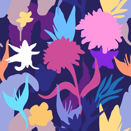 Illustration for Bright botanical silhouettes on dark background. - Royalty Free Image