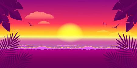Illustration pour Sunset seascape and tropical landscape. Summer vacation and travel concept. Banner design. Stock vector illustration. - image libre de droit