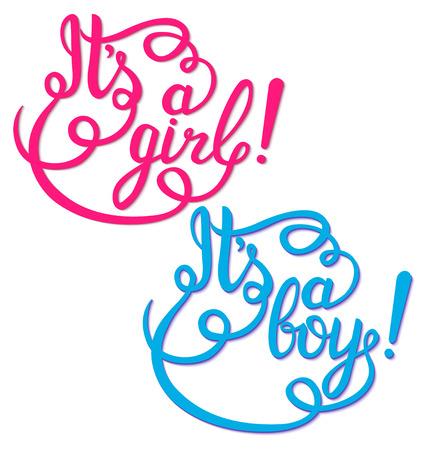 Illustration pour Its a girl, boy lettering. Baby shower vector invitation - image libre de droit