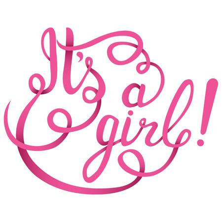 Illustration pour Its a girl lettering. Baby shower vector invitation - image libre de droit