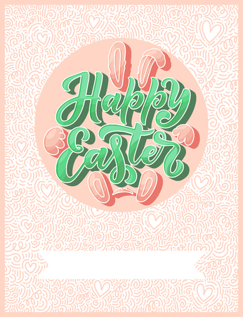 Illustration pour Calligraphy lettering for flyer design - Happy easter. Abstract vector illustration. Template banner, poster, greeting postcard. - image libre de droit