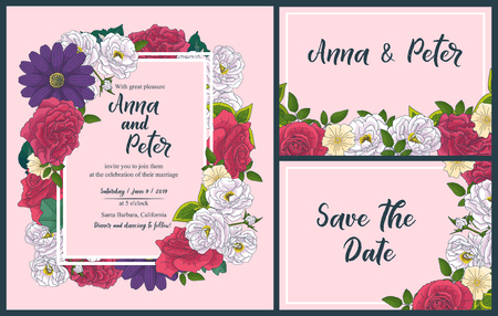 Illustration pour Wedding floral invitation card, save the date design with pink, red flowers - roses and green leaves wreath and frame. Botanical elegant decorative vector template - image libre de droit