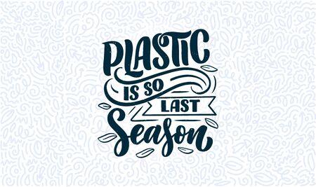 Illustration pour Eco bag print for cloth design. Retail advertising. Lettering quote for environment concept. Organic design template. Typography vector illustration. - image libre de droit