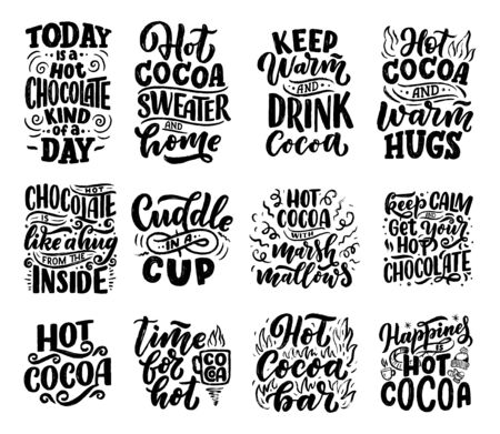Illustration pour Set with lettering quotes about hot cocoa and hot chocolate for posters or prints. Hand drawn Christmas signs for cafe, bar and restaurant. Vector illustration - image libre de droit