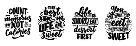 Illustration pour Set with funny sayings, inspirational quotes for cafe or bakery print. Embossed tape and brush calligraphy. Dessert lettering slogans in hand drawn style. Vector illustration - image libre de droit