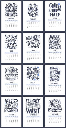 Illustration pour Modern typography lettering compositions for 2021 calendar with funny motivation quotes. Hand drawn trendy season slogans, vector illustration - image libre de droit