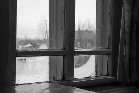 The old window in a Russian village