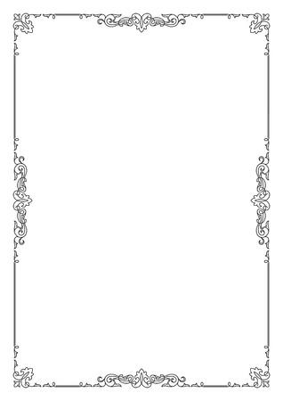 Ilustración de Decorative black rectangular text frame, A4 page format. - Imagen libre de derechos