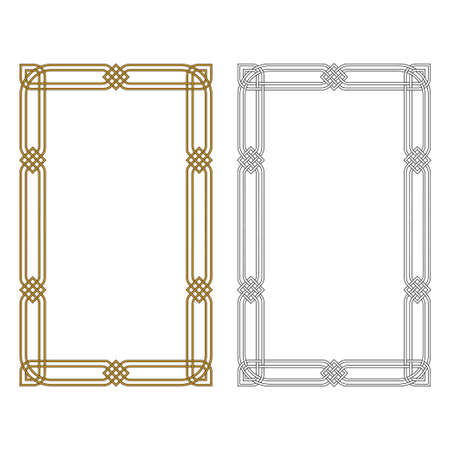 Illustration for Two rectangular frameworks. Black and white, metallic colors. Arabic, Celtic style. - Royalty Free Image