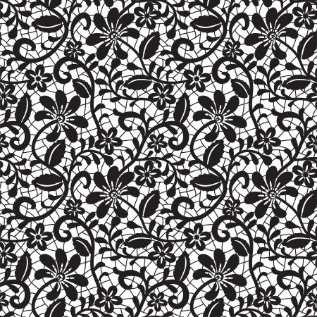 black seamless lace pattern on white background