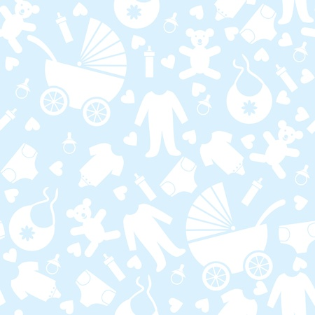 Seamless Blue Baby Background for Baby Shower