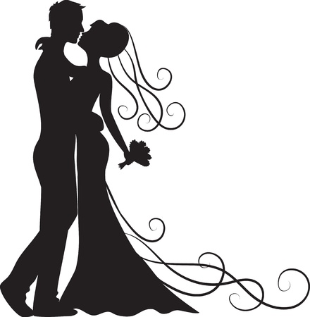 Black silhouette of kissing groom and bride
