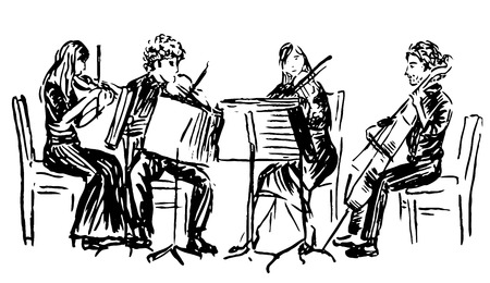 Hand-drawn sketch of musicians playing in quartet