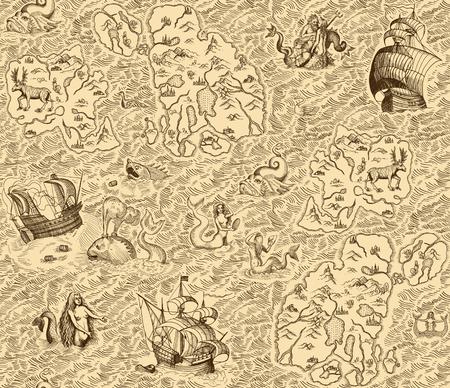 Old vintage map with islands, ships, monsters and mermaids. Seamless background