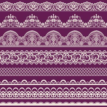 Illustration pour Horizontally seamless red lace background with ribbons - image libre de droit