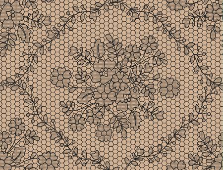 Illustration pour Seamless black lace background with floral pattern - image libre de droit
