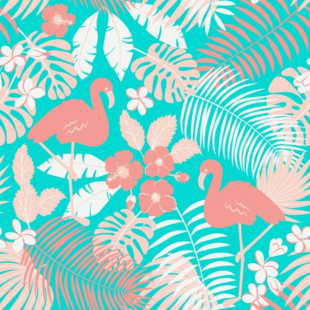 Illustration pour Tropic seamless pattern with flamingo, palms and flowers - image libre de droit