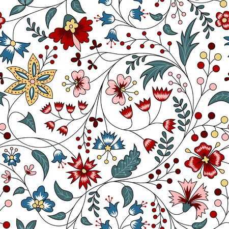 Illustration for Floral seamless pattern in chintz style on white background - Royalty Free Image