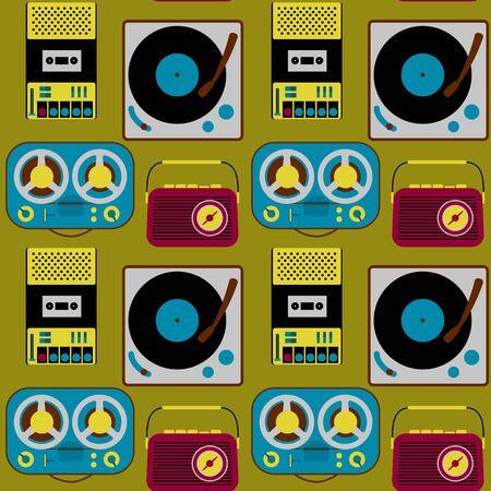 Illustration pour Vintage electronics seamless pattern - image libre de droit