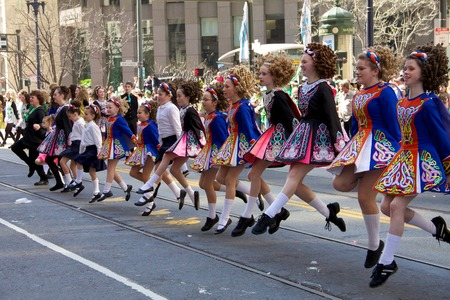Young girls dancing riverdance at Saint Patrick