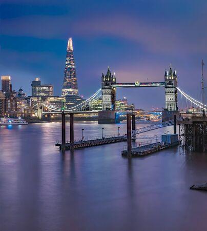 Foto de City skyline at sunset with London Tower Bridge and the Shard on Thames river in England - Imagen libre de derechos