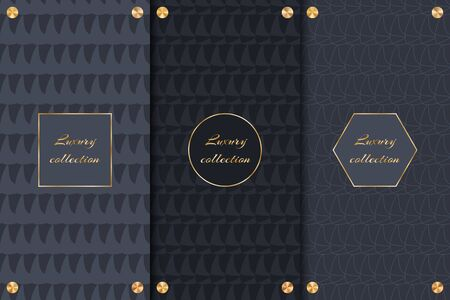 Collection of dark backgrounds with gold elements for decoration of luxury products.