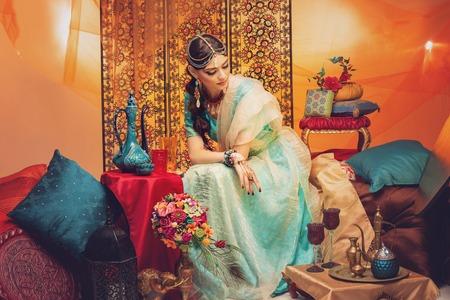 Foto de beautiful arabic style bride in ethnic clothes - Imagen libre de derechos