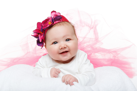 Photo pour happy beautiful baby girl in tutu skirt and hat - image libre de droit