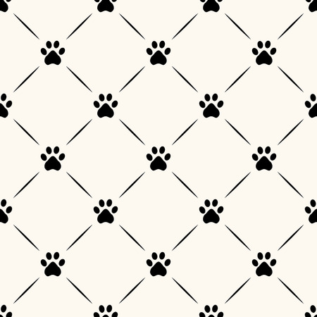 Seamless animal pattern of paw footprint.
