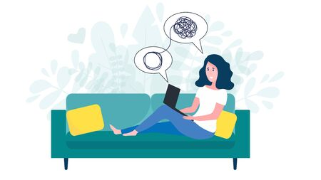 Illustration pour Woman sitting on sofa with laptop on online psychological consultation. Concept of online psychotherapy session, support and help. Professional online therapist counseling female character with mental problem via video call. Flat vector illustration - image libre de droit