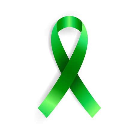 Illustration pour Realistic vector illustration of green ribbon awareness symbol. Organ donation, liver cancer, mental health and other illness prevention sign - image libre de droit