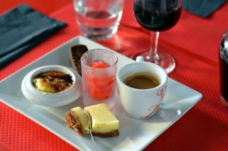 French dessert gourmet coffee; Cafe gourmand