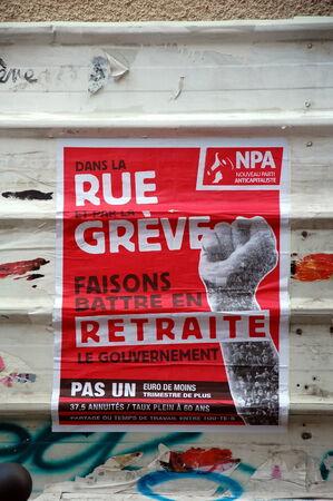 The New Anticapitalist Party poster; Nouveau parti anticapitaliste, NPA, France