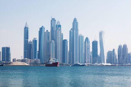 Photo pour Beautiful view of the skyscrapers in Dubai at dawn. UAE - image libre de droit