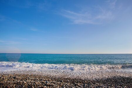 Photo for Pebble beach with sea views on the Promenade des Anglais in Nice, France - Royalty Free Image