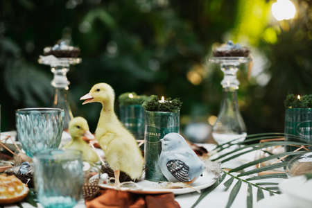 Photo for beautiful and cozy bright easter table decoration - Royalty Free Image
