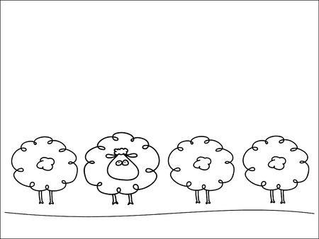 Illustration pour Row of sheep - image libre de droit