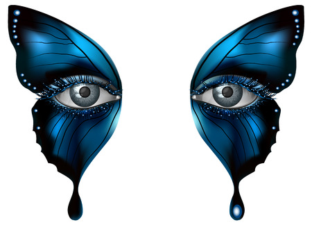 Ilustración de Realistic female eye close up artistic makeup – blue butterfly wings - Imagen libre de derechos