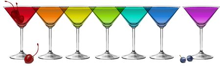 Illustration for Multicolored cocktails on white background panoramic vector illustration - Royalty Free Image
