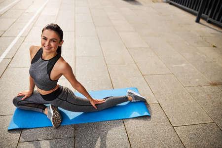 Foto für Cheerful woman having fun during training outdoors - Lizenzfreies Bild