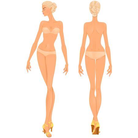 Ilustración de Beautiful young woman. Body template, front and back views for clothing design purposes or paper doll game. - Imagen libre de derechos