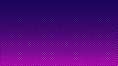 Illustration pour Halftone pattern. Horizontal vector illustration. Pink dots, blue halftone texture. Color halftone gradient. Pop Art blue pink comics Background. Bright neon Dots Background. - image libre de droit