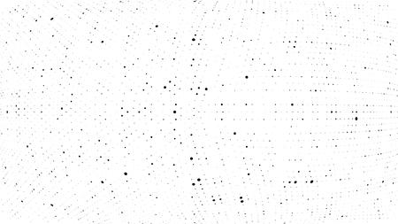 Illustration pour Halftone gradient pattern. Abstract halftone dots background. Monochrome dots pattern. Grunge dirty texture. Vector halftone texture. Wave twisted dots. Pop Art, Comic small dots. 3d sphere - image libre de droit