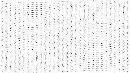 Illustration for Halftone gradient pattern. Abstract halftone dots background. Monochrome dots pattern. Grunge dirty texture. Vector halftone texture. Wave twisted dots. Pop Art, Comic small dots. Design elements - Royalty Free Image