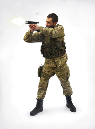 shooting soldier white background