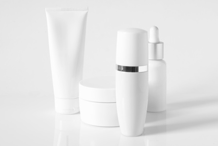 Cosmetic antiaging line on light background. High key.