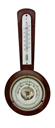 vintage barometer isolated over white background