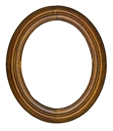 vintage wooden oval frame isolated over white background
